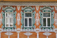 Wooden trim on the Windows of Russia royalty free stock photos