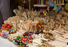 Wooden trinkets for sale on a market Stock Photo