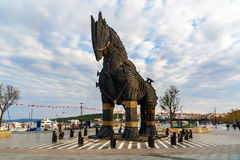 Wooden Trojan Horse in Canakkale, Turkey Stock Images