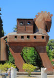 Wooden Trojan horse on the entrance to Royalty Free Stock Images