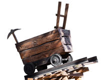 Wooden trolley with a pick Royalty Free Stock Photo