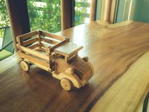 Wooden truck on the table royalty free stock photos