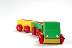 Wooden truck toy. A picture of isolated wooden truck toy Stock Image