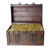 Wooden trunk. Chest trunk wooden gold isolated on the white background Stock Images