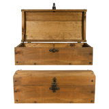 Wooden trunk opened and closed isolated Royalty Free Stock Images