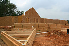 Wooden truss. On a construction site Stock Images