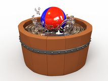 Wooden tub. With water and a ball stock illustration