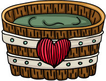 Wooden tub for a bath with heart. Scalable vectorial image representing a wooden tub for a bath with heart, isolated on white stock illustration