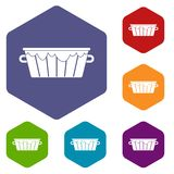 Wooden tub icons set hexagon. Isolated vector illustration royalty free illustration