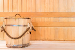 Wooden tub for water in sauna Royalty Free Stock Images