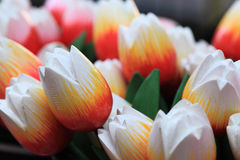 Wooden tulips. Image of colorful wooden tulips on a market stand in Amsterdam Royalty Free Stock Photo
