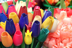 Wooden tulips in Amsterdam. Flower market Royalty Free Stock Image
