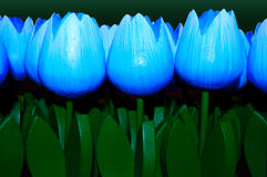 Wooden Tulips blue. Set of blue wooden tulip ornaments Stock Photo