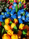 wooden tulips,blue,yellow Stock Photography
