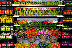 Wooden tulips. Colorful wooden tulips for sale in a souvenir shop in Zaanse Schanz near Amsterdam in Netherlands Royalty Free Stock Photo