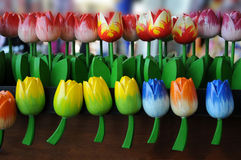 Wooden tulips Stock Images