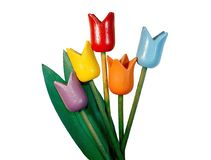 Wooden Tulips isolated on white background. Royalty Free Stock Photography