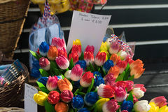 Wooden tulips in shop Stock Image