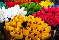 Wooden tulips in souvenir shop. Amsterdam Stock Photos