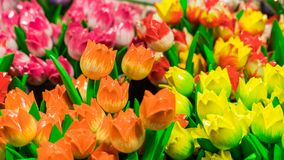 Wooden tulips Royalty Free Stock Images