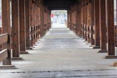 Wooden tunnel / bridge. Brown wooden bridge or tunnel Stock Photo