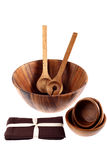 Wooden tureens with cooking spoons and napkins Stock Images