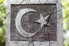 Wooden Turkish Flag. On an old Tree Stock Image