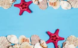 Wooden turquoise background with frame made of sea shells, top view stock photos