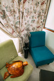 Wooden turtle. Elements of interior design Stock Photo