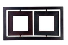 Wooden twin portrait frame Stock Photos