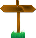 Wooden two-sides arrow sign. Vector illustration Stock Photo