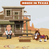 Wooden two-storey house of a cowboy in Texas Royalty Free Stock Images