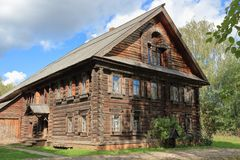 The wooden two-story hut of the nineteenth century. stock image