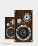 Wooden two way audio speaker Royalty Free Stock Photography