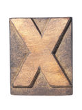 Wooden X typeface. Detailed vintage wooden X letter typeface isolated Stock Photo