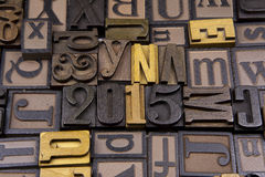 2015 in wooden typeset. 2015 surrounded by random typeset Royalty Free Stock Image