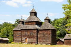 Wooden ukrainian antique orthodox church Royalty Free Stock Photo