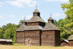 Wooden ukrainian antique orthodox church Royalty Free Stock Image