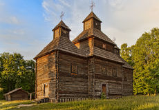 Wooden Ukrainian rural Orthodox church Stock Photos