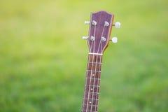 Wooden ukulele  on green grass Royalty Free Stock Photos