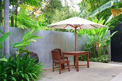Wooden umbrella in garden , Thailand. Stock Photo