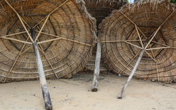 Wooden umbrellas on the beach in Khanh Hoa, Vietnam Royalty Free Stock Photography