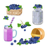 Wooden underlying basket with blueberries realistic vector illustration Royalty Free Stock Photos