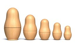 Wooden unpainted matryoshka dolls 3D. Render illustration isolated on white background royalty free illustration