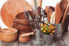 Wooden untersils. Rustic style kitchen - wooden and retro untersils Royalty Free Stock Photos