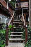 Wooden upstair to the bungalow. In the resort at samed island, Thailand royalty free stock photo