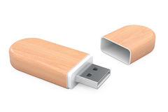 Wooden USB Flash Memory Drives. 3d Rendering Stock Photos