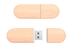 Wooden USB Flash Memory Drives. 3d Rendering Royalty Free Stock Photography
