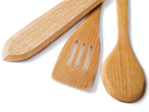 Wooden Utensil on white. Royalty Free Stock Photo