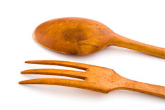 Wooden utensils spoon and fork. With clipping path Stock Photography